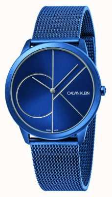 Calvin Klein Minimaal   blauwe mesh armband   blauwe wijzerplaat   K3M51T5N