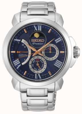 Seiko | Premier kinetische directe aandrijving | mens | blauwe kalender SRX017P1