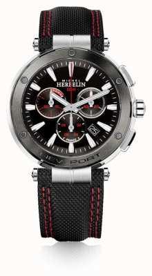 Michel Herbelin | mens | nieuwpoort | rode en zwarte chronograaf | nylon | 37688/AG44