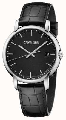Calvin Klein | mens | opgericht | zwarte leren riem | zwarte wijzerplaat | K9H211C1