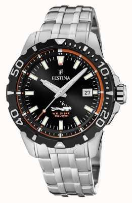 Festina | heren duikers | roestvrijstalen armband | zwarte wijzerplaat | F20461/3