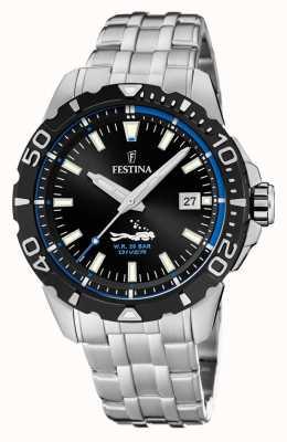 Festina   duikers voor heren   roestvrij stalen armband   zwarte / blauwe wijzerplaat   F20461/4