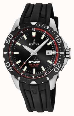 Festina | heren duikers | zwarte rubberen band | zwarte wijzerplaat | F20462/2