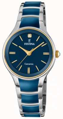 Festina | keramiek voor vrouwen | zilveren / blauwe armband | blauwe wijzerplaat | F20474/3
