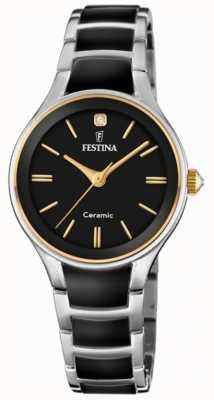 Festina | keramiek voor vrouwen | zilver / zwarte armband | zwarte wijzerplaat | F20474/4