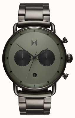 MVMT Blacktop rallye groen gunmetal | pvd armband | groene wijzerplaat D-BT01-OLGU