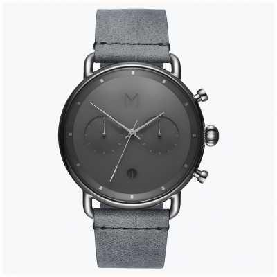 MVMT Blacktop zilveren mist | grijze leren band | grijze wijzerplaat D-BT01-SGR