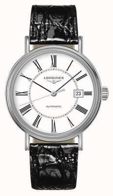 Longines Voorkomen | Zwitserse automaat | zwart leer | witte wijzerplaat L49224112