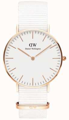 Daniel Wellington Klassieke 36 mm dover | rosé gouden kast | witte riem DW00100309