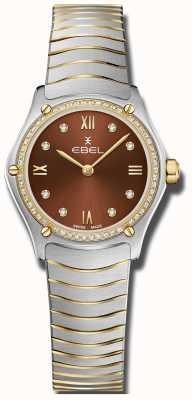 EBEL Sportklassieker voor dames | bruine wijzerplaat | diamanten set | roestvrij 1216443A