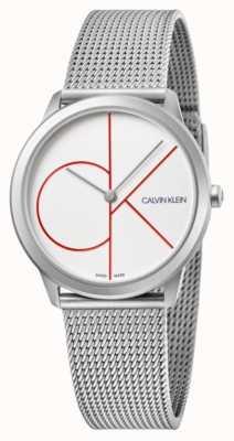 Calvin Klein   minimaal   roestvrij stalen gaas armband   zilveren wijzerplaat   K3M52152