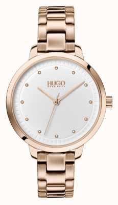 HUGO # bereiken | rosé gouden ip armband | witte wijzerplaat 1540037
