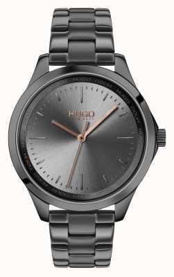 HUGO #fearless | grijze ip armband | grijze wijzerplaat 1540042