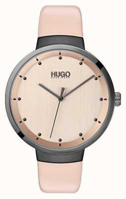 HUGO #go | roze lederen band | rosé gouden wijzerplaat 1540001