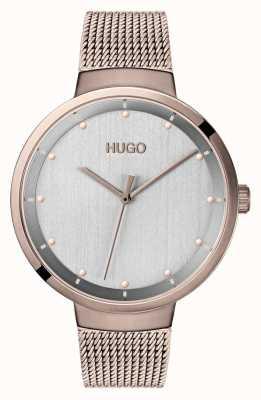 HUGO #go | rose gouden ip mesh | grijze wijzerplaat 1540004