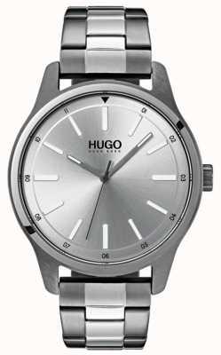 HUGO #dare | roestvrij stalen armband | zilveren wijzerplaat 1530021
