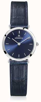 Michel Herbelin | dames | epsilon | blauwe lederen band | blauwe wijzerplaat | 17106/15BL