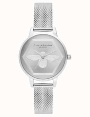 Olivia Burton | 3d bijen liefdadigheids horloge | zilveren gaas armband l OB16AM168