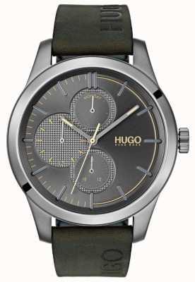 HUGO #discover | groene lederen band | grijze wijzerplaat 1530084