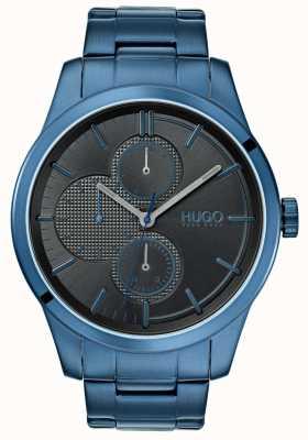 HUGO #discover | blauwe ip armband | zwarte wijzerplaat | 1530086