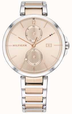 Tommy Hilfiger | tweekleurige roestvrijstalen armband voor dames | blozen wijzerplaat | 1782127