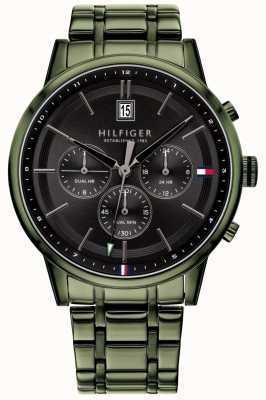 Tommy Hilfiger | heren groene pvd vergulde armband | zwarte wijzerplaat | 1791634