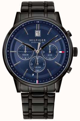 Tommy Hilfiger | heren zwarte pvd vergulde armband | blauwe wijzerplaat | 1791633