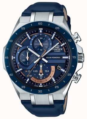 Casio | bouwwerk | op zonne-energie | chronograaf | blauw leer | EQS-920BL-2AVUEF
