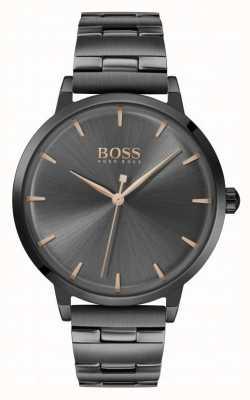 Boss | jachthaven voor vrouwen | zwarte pvd vergulde armband | zwarte wijzerplaat | 1502503