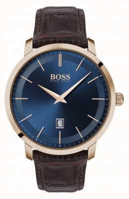 Boss   premium heren klassiek   bruine lederen band   blauwe wijzerplaat   1513745