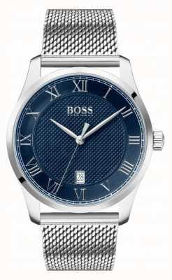 Boss   heren meester   roestvrij stalen gaas armband   blauwe wijzerplaat   1513737