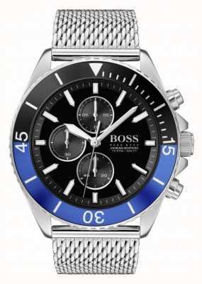 Boss | mannen oceaaneditie | stalen gaas armband | zwarte wijzerplaat | 1513742