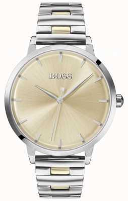 BOSS | jachthaven voor vrouwen | roestvrijstalen armband | gouden wijzerplaat | 1502500