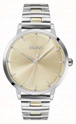 Boss | jachthaven voor vrouwen | roestvrij stalen armband | gouden wijzerplaat | 1502500