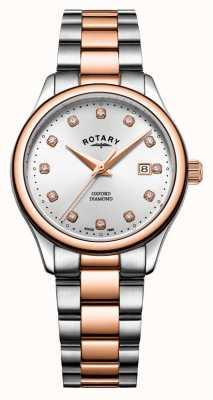 Rotary | dames oxford | tweekleurig roestvrij staal | zilveren zonnestraal LB05094/70/D