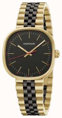 Calvin Klein   heren   vierkant   tweekleurige armband   zwarte wijzerplaat   K9Q125Z1