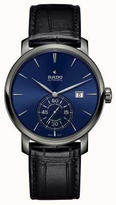 Rado XL Diamaster Petite seconde zwart lederen blauwe wijzerplaat horloge R14053206