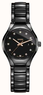 RADO Echt diamanten plasma high-tech keramiek zwarte wijzerplaat R27059732