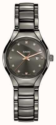 Rado Echt diamanten hightech keramisch horloge met grijze wijzerplaat R27060732