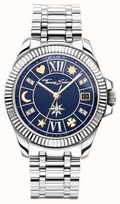 Thomas Sabo | geluksbrenger dames | blauwe wijzerplaat | roestvrij stalen armband WA0354-201-209-33