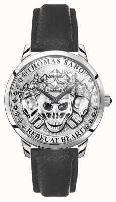 Thomas Sabo | mannen rebellen geest 3d schedels | zwarte lederen band | WA0355-203-201-42