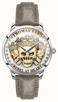 Thomas Sabo | mannen rebellen geest 3d schedels | gouden wijzerplaat | lederen band | WA0356-273-207-42