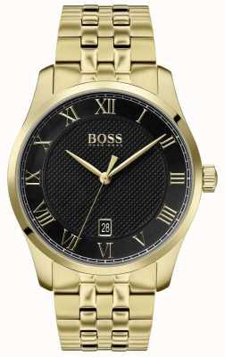 Boss | heren meester | gouden pvd armband | zwarte wijzerplaat | 1513739