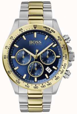 Boss | heren hero sport lux | tweekleurige armband | blauwe wijzerplaat | 1513767