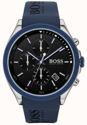 Boss | mannen snelheid | blauwe rubberen band | zwarte wijzerplaat | 1513717