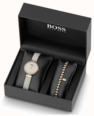 BOSS Viering | leer | kristallen wijzerplaat | horloge en armband 1570094