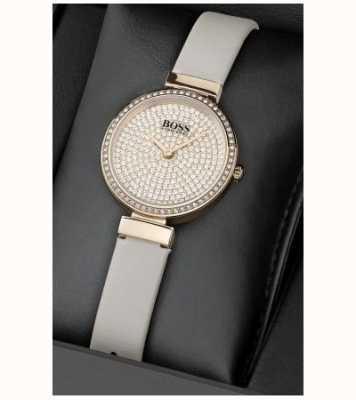 Boss Leren dameshorloge set met kristal en armband 1570094