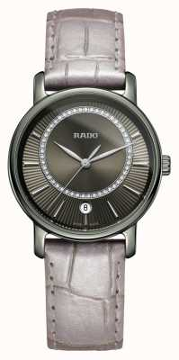Rado Diamaster diamanten grijs lederen band grijze wijzerplaat horloge R14064715