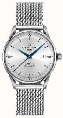 Certina | ds-1 powermatic 80 | zilveren mesh armband | zilveren wijzerplaat | C0298071103102