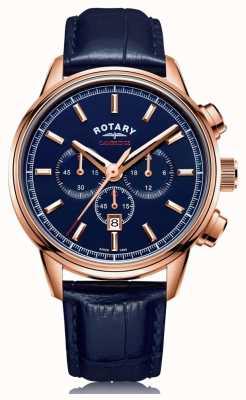 Rotary | cambridge heren chronograaf | blauwe wijzerplaat | blauw leer | GS05399/05